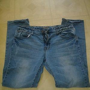 Mens Slim straight blue jeans